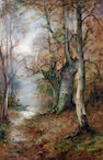 Thomas Tayler Ireland (British, active 1894-1921) A quiet spot, Burnham Beeches; Nature's mirror,  (