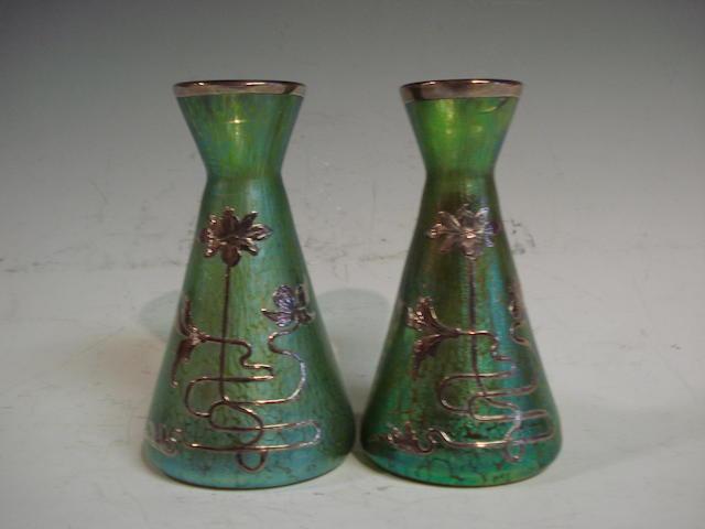 A pair of Loetz irridescent glass vases circa 1900