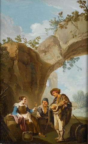 Paolo Monaldi (Rome 1725-1780) A young woman holding a glass of wine with two companions making music before a stone arch; and A young peasant woman (2) together with two unattributed red chalk drawings, one of which is of the latter painting
