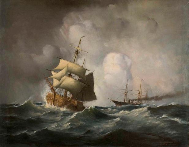 Jean Altamoura (Greek, 1852-1878) Breaking the waves 58 x 74 cm.