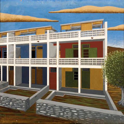 Nikos Engonopoulos (Greek, 1910-1985) Doxiadis building 54 x 55 cm.