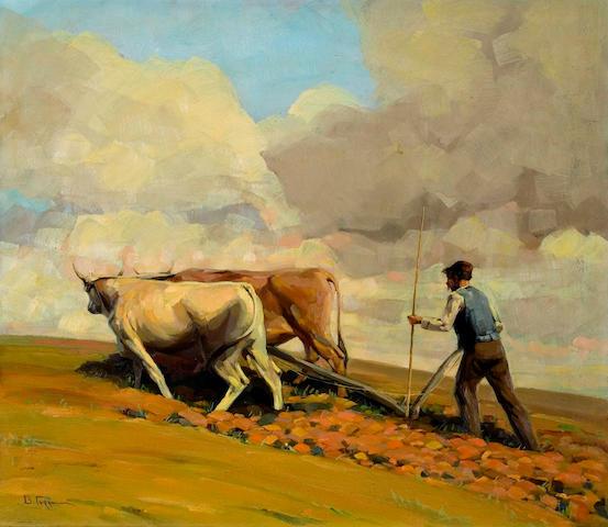 Vassilis Germenis (Greek, 1896-1966) Plowing the fields 62 x 72 cm.