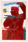 Alecos Fassianos (Greek, born 1935) The red cyclist 92 x 58 cm.