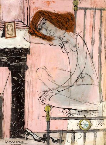 Costas Grammatopoulos (Greek, 1916-2003) Girl in interior 80 x 60 cm.