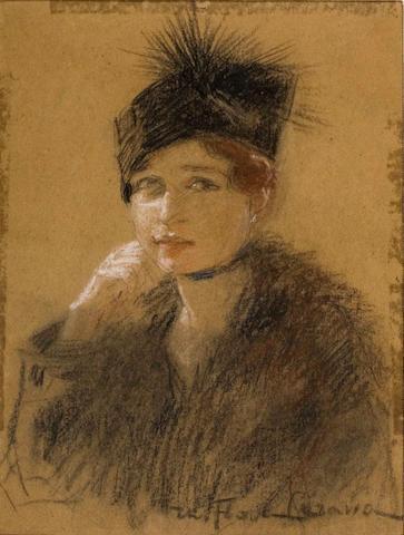 Thalia Flora-Caravia (Greek, 1871-1960) Lady with hat 26.5 x 19 cm.