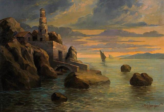 Christos Lambiris (Greek, 1870-1950?) View of Andros 45 x 66 cm.