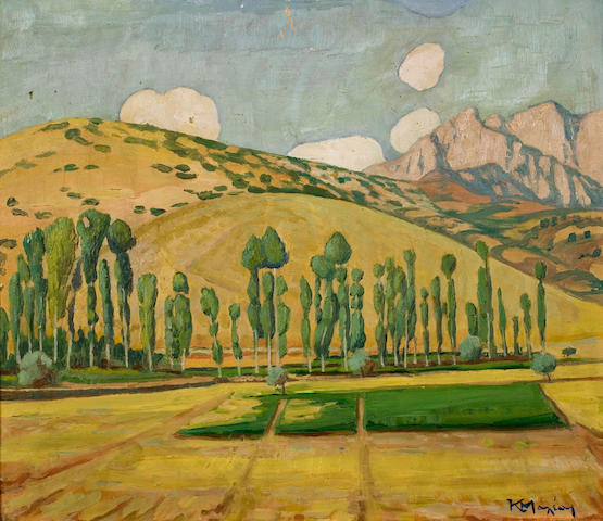 Constantinos Maleas (Greek, 1879-1928) Greek landscape (possibly view of Thermos) 50 x 58.5 cm.
