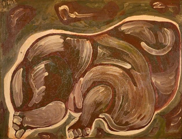 Nikos Nikolaou (Greek, 1909-1986) Laying figure 47.5 x 63 cm.