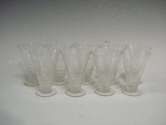 'Bourqueil' a set of nine Lalique clear and frosted glasses