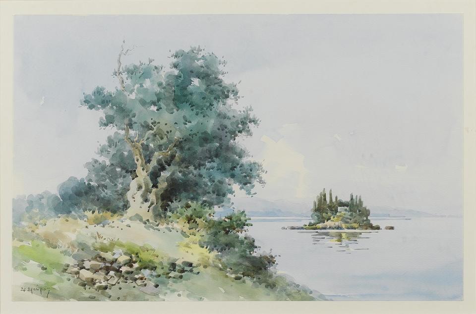 Stefanos Sgouros (Greek, born 1924) a) The islands of Pontikonissi and Vlacherna, Corfu 27 x 42 cm. ((2))