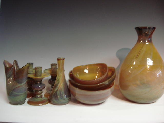 A collection of modern Italian designer style glass