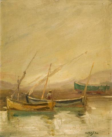 Georgios Roilos (Greek, 1867-1928) Tending the boat 45 x 36.5 cm.