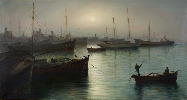 Alex Brickman (1900-1954) View of Piraeus 66 x 121 cm.