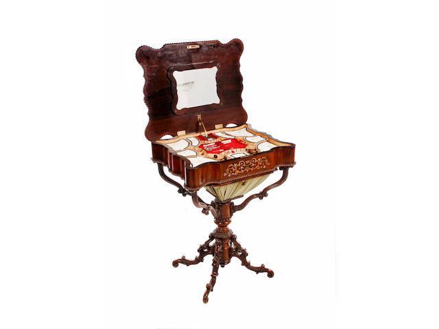 A mid 19th century German brass and mother of pearl inlaid rosewood games/worktable,