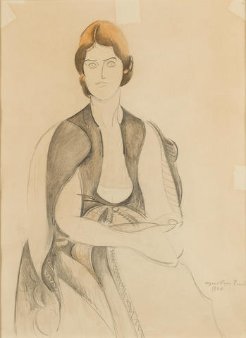 Percy Wyndham Lewis (British, 1882-1957) Portrait of Naomi Mitchison 35.5 x 25.5 cm. (14 x 10 in.)