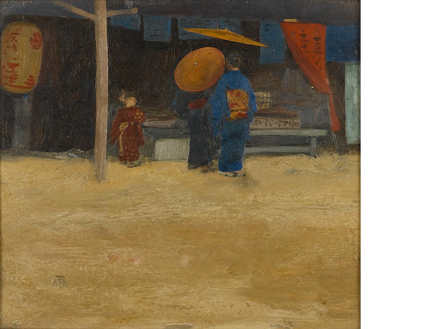 Mortimer Luddington Menpes (British, 1855-1938) Japanese street scenes (2) 17 x 19 cm. (6¾ x 7½ in.)