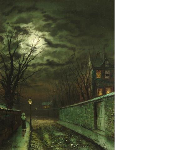 Walter Linsley Meegan (British, 1859-1944) Figure on a moonlit street