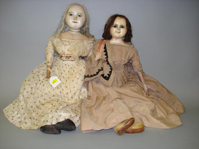 Large wax over composition shoulder head doll, circa 1860 2