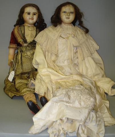Large wax over composition shoulder head doll, circa 1870 2