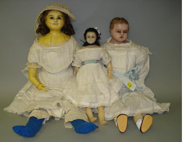 Poured wax shoulder head doll, circa 1860 3