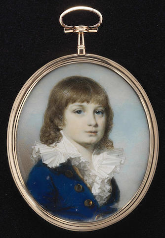 George Engleheart (British, 1750/3-1829) A boy, wearing royal blue coat with large brass buttons, cream waistcoat and white chemise with frilled wide collar