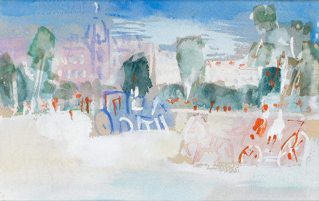 Jean Dufy (French, 1888-1964) La Fontaine 12.5 x 19.5 cm (4 7/8 x 7 3/4 in)