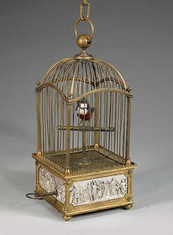 A singing bird-in-cage by Bontems,