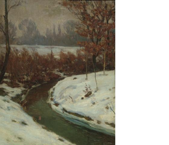 Mark Senior (British, 1864-1927) A river landscape in snow
