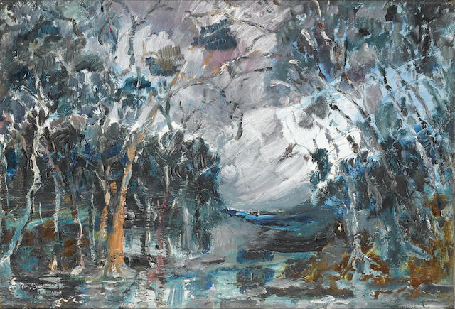 Attributed to Cecil Higgs (South African, 1900-1986) Winter landscape 33 x 48 cm. (13 x 19 in.)