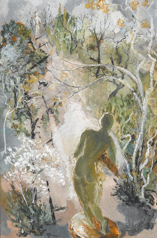 Cecil Higgs (South African, 1900-1986) Nude in a landscape 76 x 51 cm. (30 x 20 in.)