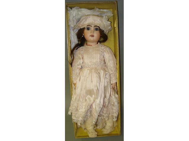 Boxed Bebe Jumeau bisque head doll, circa 1900