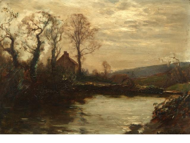 Arthur A. Friedenson (British, 1872-1955) Twilight landscape by a riverside,