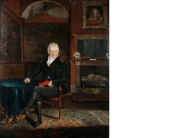 English School, 19th Century   Portrait of Edward Law, Earl Ellenborough seated in a library