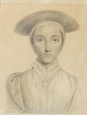 (n/a) John Smart, junior (British, 1776-1809) A Lady, called Anne of Cleves (1515-1567) full-face, wearing gown, collar tied with lace, beaded necklace, white coif and cap embroidered with floral motif