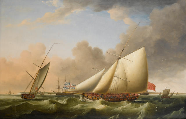 Thomas Luny (British, 1759-1837) The Revenue cutter 'Greyhound' patrolling in two positions off Walmer Castle 91.4 x 139.7cm. (36 x 55in.)
