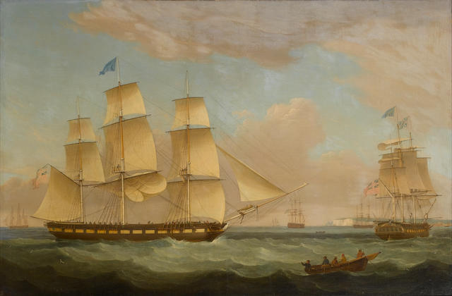 Thomas Whitcombe (British, 1760-1824) The merchantman, 'Medina' of London in two positions off Dover