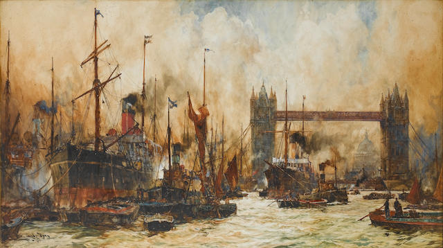 Charles Edward Dixon, R.I. (British, 1872-1934) The bustling river below Tower Bridge 70.5 x 126cm. (27 3/4 x 49 5/8in.)