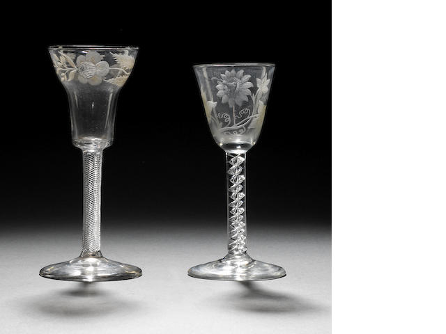 Two engraved mercury-twist wine glasses circa 1760