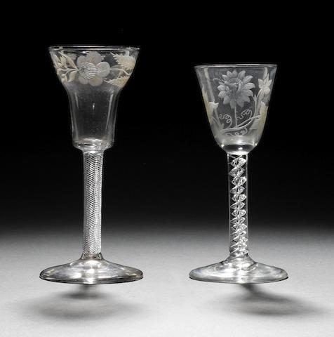 Two engraved mercury-twist wine glasses circa 1760
