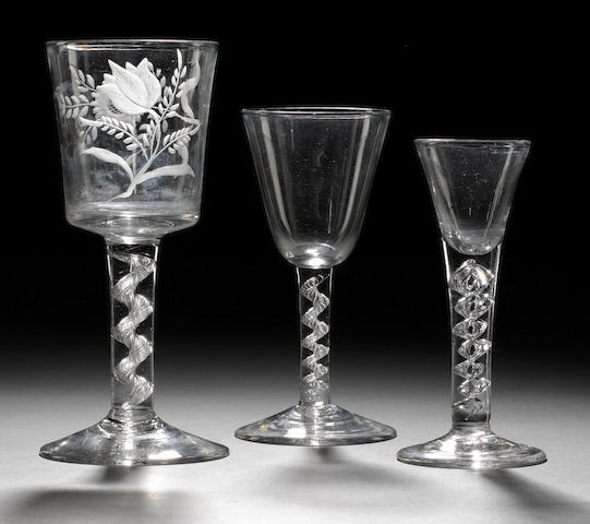 Three wine glasses mid 18th century