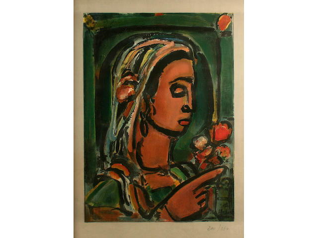 Georges Rouault (French, 1871-1958) Head of a woman with bouquet of flowers,