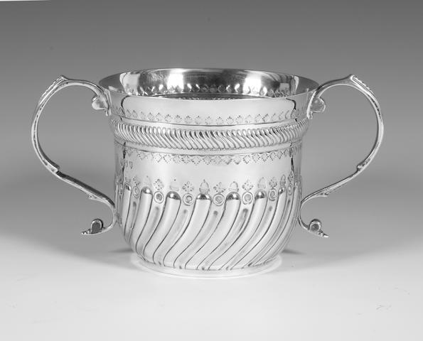 A late Victorian silver 18th century style porringer By Charles Stuart Harris, 1894