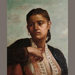 Continental School, late 19th Century Portrait of a Mediterranean woman in traditional dress