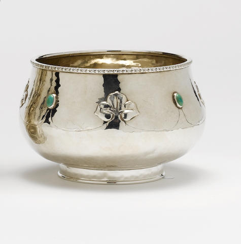 A. E. Jones A Silver and Green Hardstone Bowl, 1909