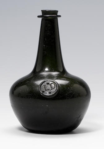A rare previously unrecorded sealed wine bottle circa 1670