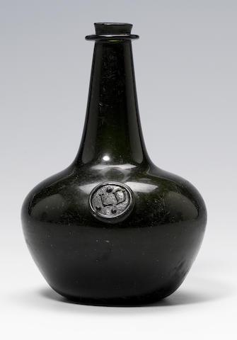 A rare previously unrecorded sealed wine bottle circa 1670