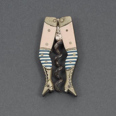 A German novelty 'lady's legs' corkscrew,