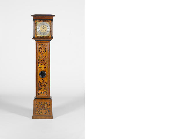 A late 17th century longcase clock, the trunk decorated with Dutch marquetry