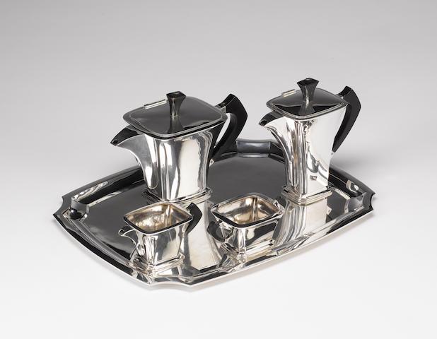 A four piece Art Deco Belgian silver tea service and tray, maker's mark of De Bruyere, circa 1930,  (5)