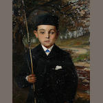 Continental School, Late 19th Century A young boy with fishing rod,